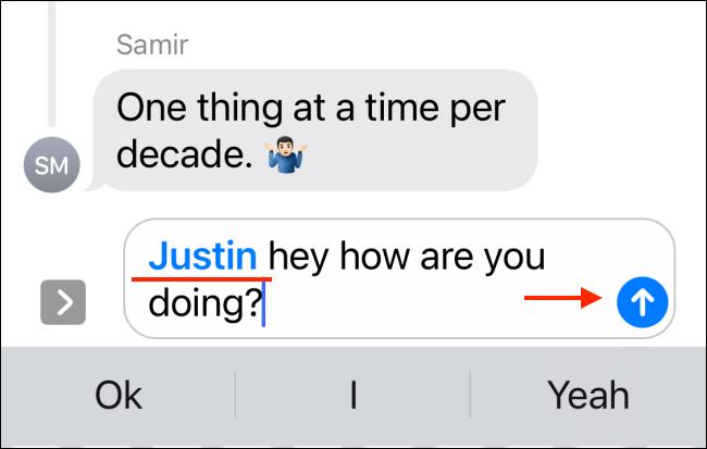 Tippen Sie auf das Symbol Senden, nachdem der Name der Person blau wird.