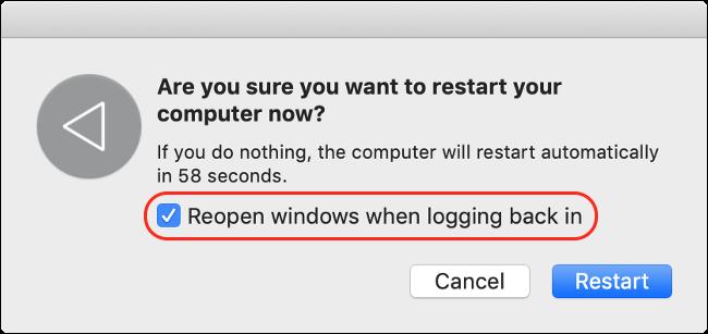 Deaktivieren Sie Windows erneut öffnen, wenn Sie sich für eine schnellere Startzeit anmelden