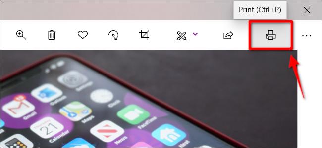 Druckersymbol in der Foto-App