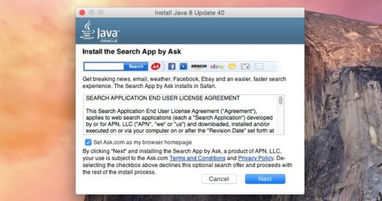 Java unter OS X bündelt Crapware. Hier erfahren Sie, wie Sie es stoppen können