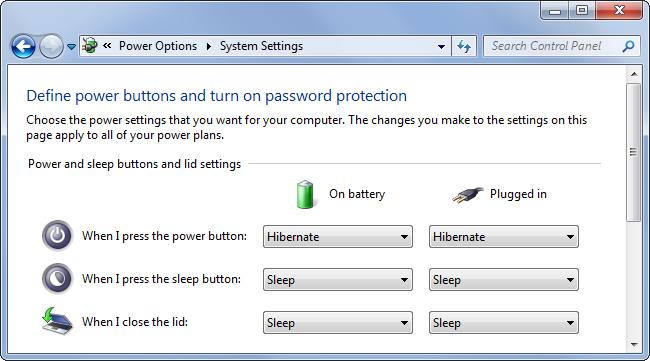 Definieren Sie die Power-Buttons im Windows-Bedienfeld