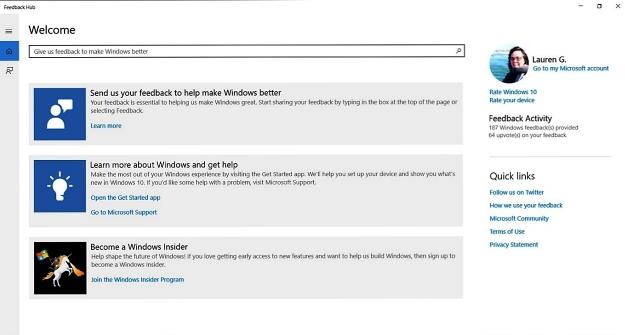 Was ist der beste Weg, um dem Windows-Produktteam 01 Feedback zu geben?