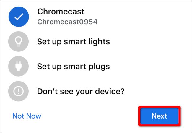 """Wählen Sie Ihr Chromecast-Gerät aus und tippen Sie anschließend auf """"Nächster."""""""
