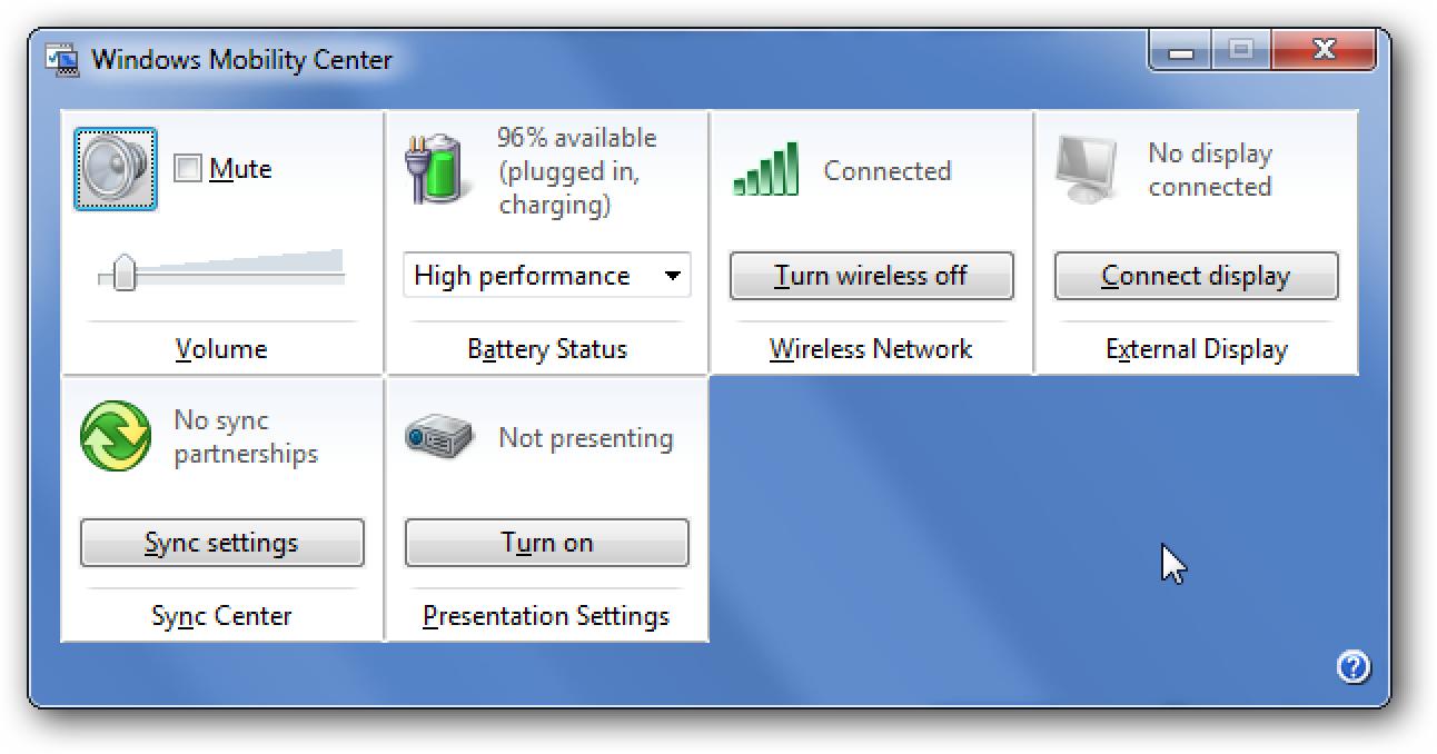 Deaktivieren Sie das Windows Mobility Center unter Windows 7 oder Vista