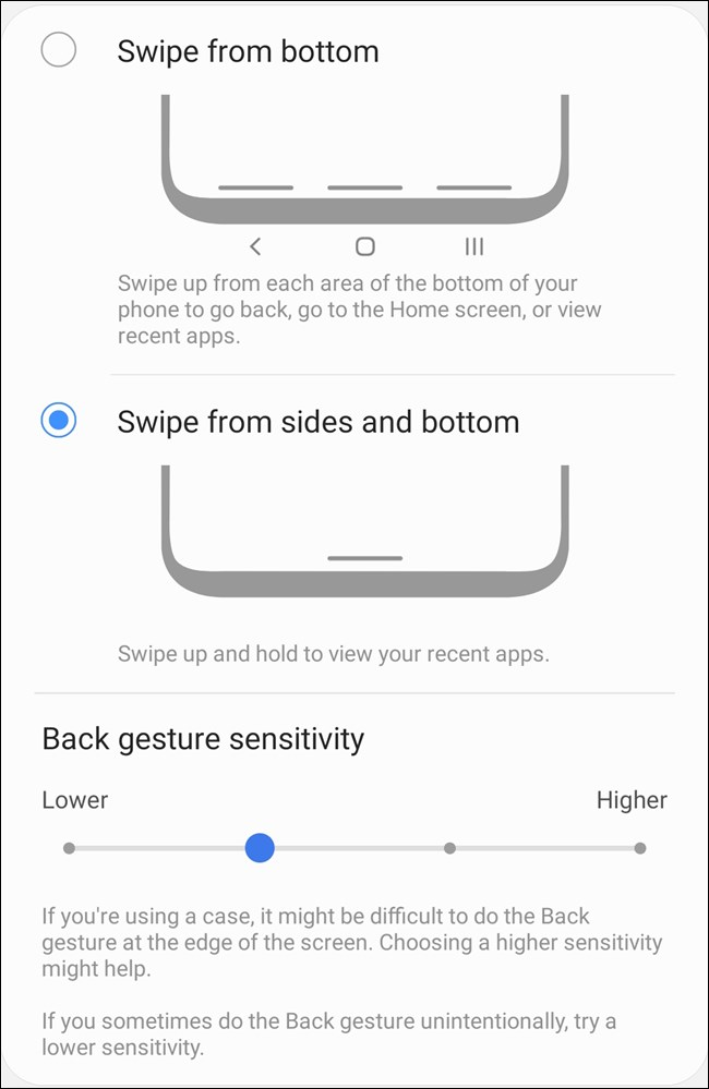 Samsung Galaxy S20 Wählen Sie Gestenarten und benutzerdefinierte Einstellungen