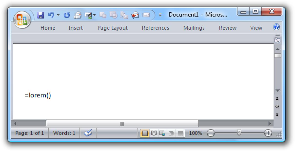 Undokumentierte Microsoft Word-Funktion: Fügen Sie Lorem Ipsum-Text ein