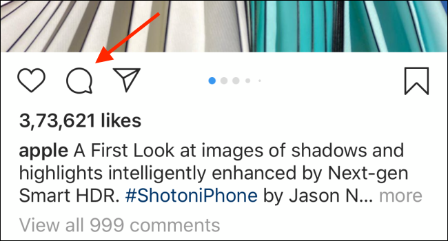 Tippen Sie auf das Kommentarsymbol (Sprechblasen-Symbol), um alle mit dem Beitrag verknüpften Kommentare anzuzeigen.