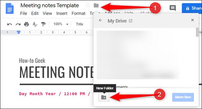 Verschieben Sie die Vorlage in einen Ordner für Ihre Google Text & Tabellen-Vorlagen.  Wenn es keine gibt, erstellen Sie eine.