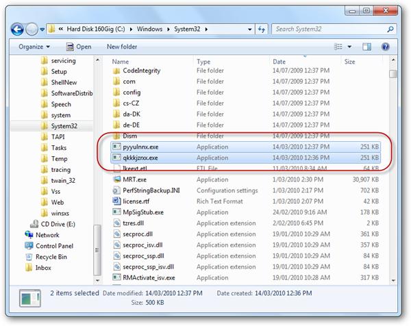 Verdächtige Einträge im System32-Ordner