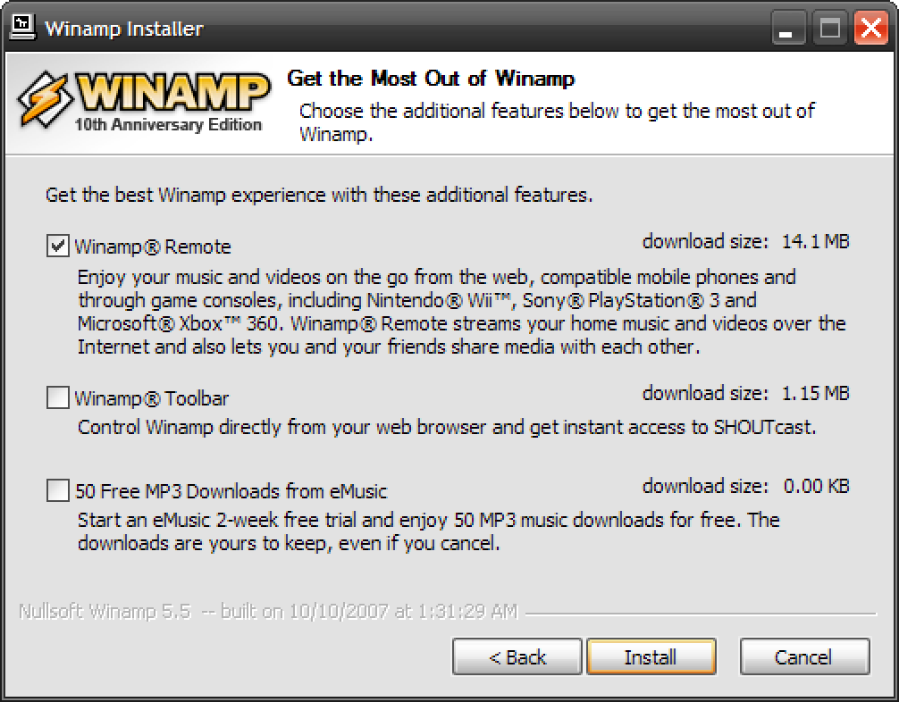 WINAMP 10th Anniversary Edition