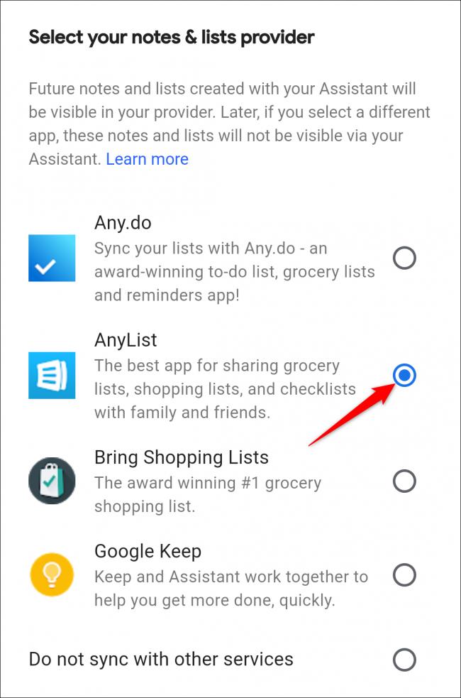 Google Assistant wählt eine beliebige Einkaufsliste aus