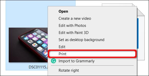 Wählen Sie Drucken in Windows 10