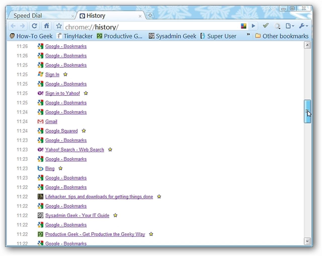Anzeigen des Browserverlaufs basierend auf Host und Datum in Chrome