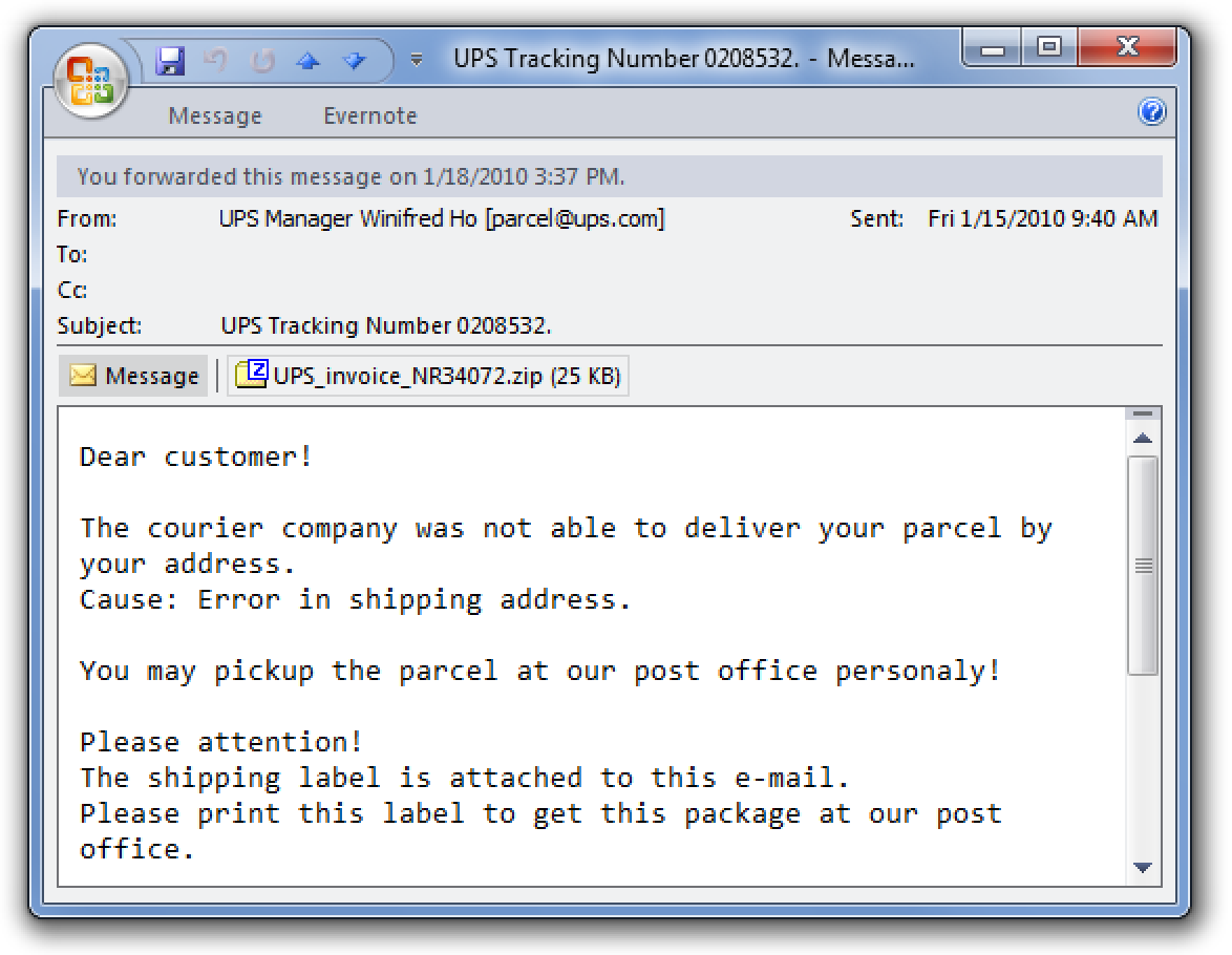 Beheben Sie den gefälschten UPS Tracking Number-Virus, der Ihren Computer neu startet
