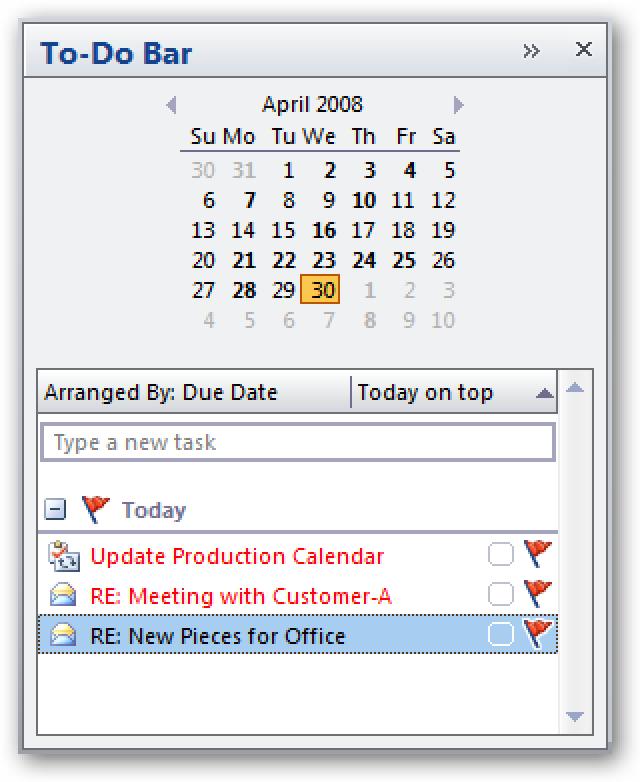 Siehe Aufgabentyp auf einen Blick, indem Sie die Symbolspalte zur Outlook 2007-Aufgabenleiste hinzufügen