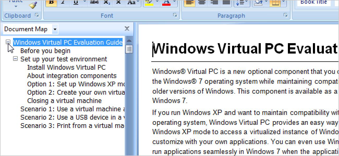 Erfahren Sie, wie Sie die Dokumentübersicht in Word 2007 verwenden
