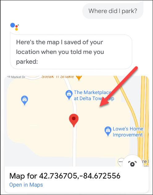 Eine Karte, die zeigt, wo ein Auto in Google Assistant geparkt ist.