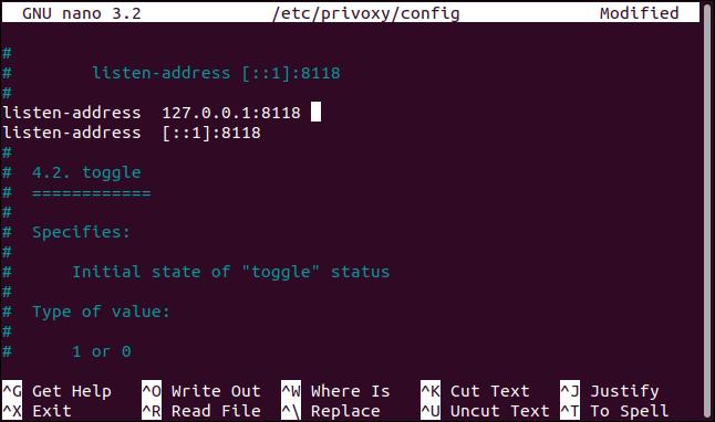 Die Einstellung der Abhöradresse in der privoxy-Konfigurationsdatei in nano in einem Terminalfenster