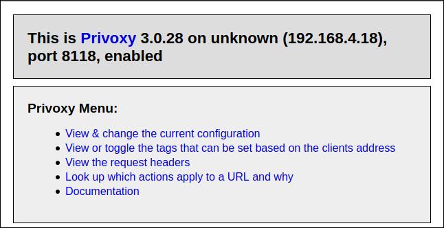 Die Privoxy-Homepage in einem Browser.