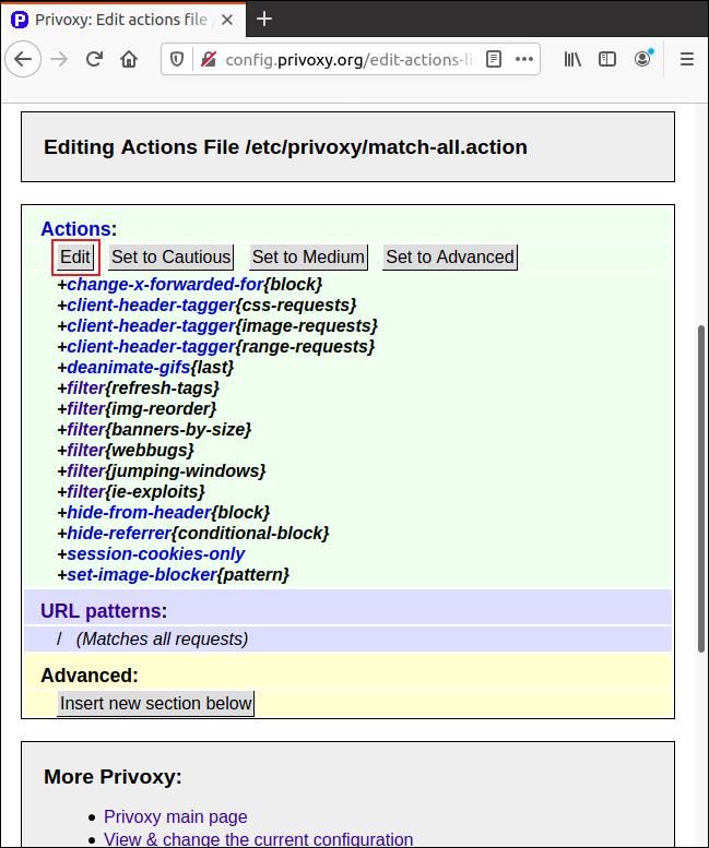 """Klicken """"Bearbeiten"""" in dem """"Match-All.Action"""" Seite in Firefox, um die Parameter anzupassen."""