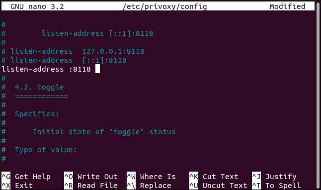Die neue Einstellung für die Abhöradresse in der privoxy-Konfigurationsdatei in nano in einem Terminalfenster.