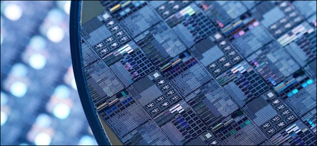 Vergrößerte Ansicht von Transistoren auf einem Prozessor