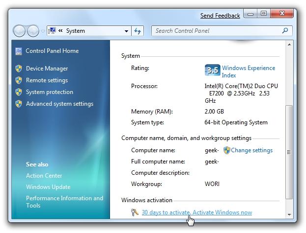 Windows 7-Aktivierung 30 Tage
