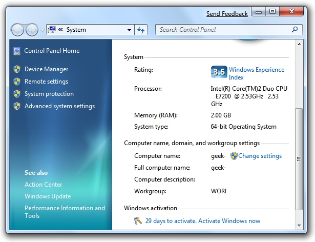 Aktivierung der Windows 7-Systemeigenschaften