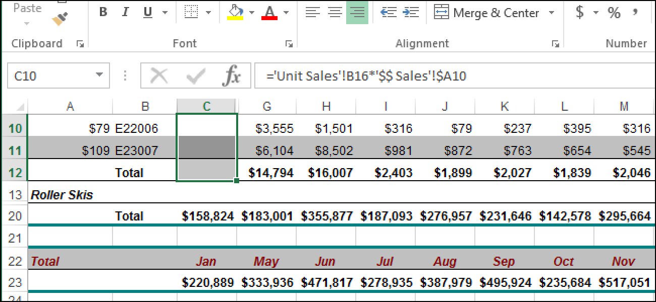 Ausblenden von Zellen, Zeilen und Spalten in Excel