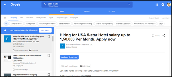 google-job-search-complete-list