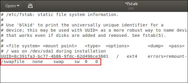 / etc / fstab mit hervorgehobenem Swapfile-Eintrag
