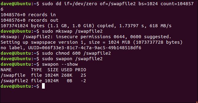 sudo dd if = / dev / zero / of = / swapfile2 bs = 1024 count = 104857 in einem Terminalfenster