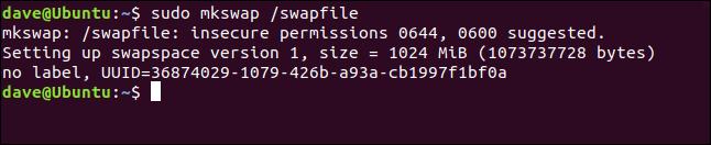 sudo mkswap / swapfile in einem Terminalfenster