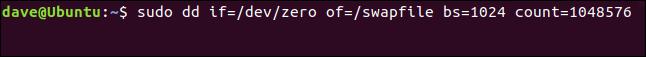 sudo dd if = / dev / zero von = / swapfile bs = 1024 count = 1048576 in einem Terminalfenster