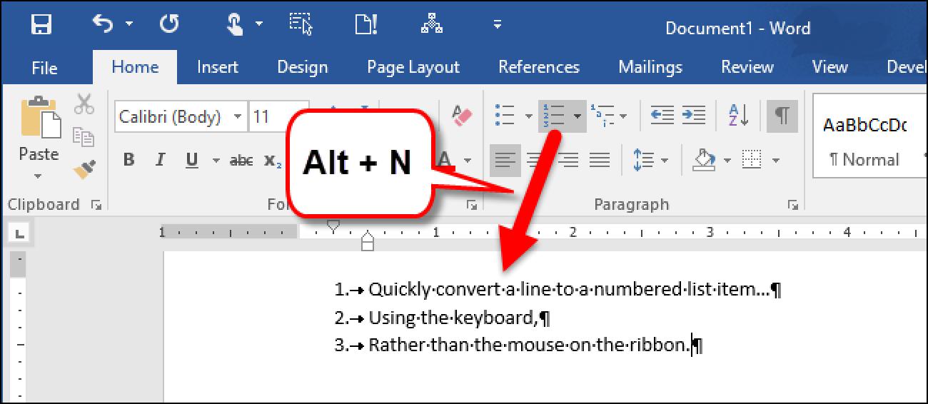So erstellen Sie eine nummerierte Liste in Word mithilfe der Tastatur