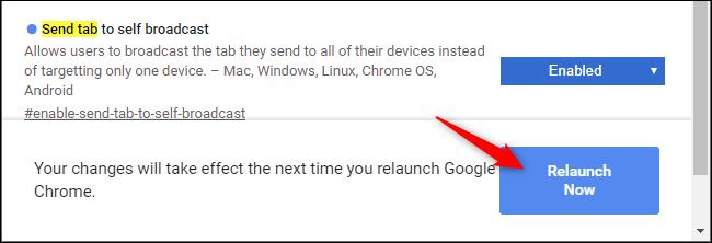 Starten Sie Chrome neu, nachdem Sie ein Flag aktiviert haben