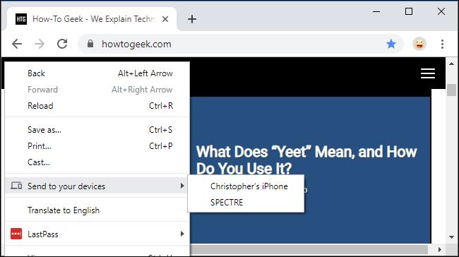 """Das """"An Ihre Geräte senden"""" Menü in Google Chrome"""