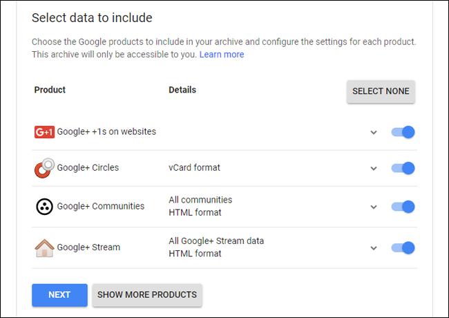 Google Takeout für Google+.