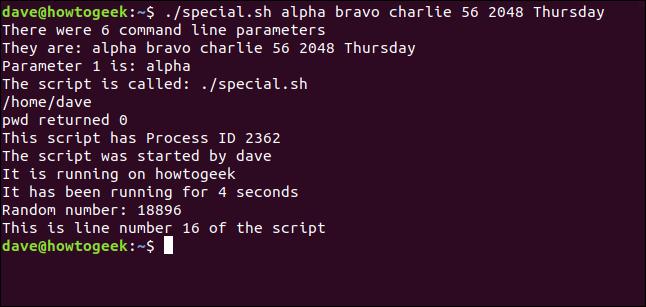 """""""./special.sh alpha bravo charlie 56 2048 Donnerstag"""" in einem Terminalfenster."""
