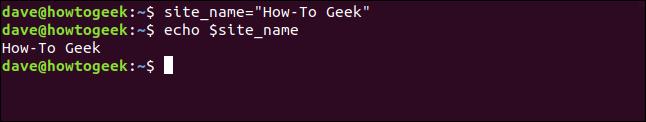 "Site-Name =""How-To Geek"" in einem Terminalfenster."