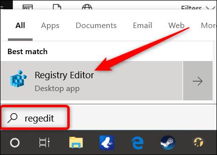 Öffnen Sie den Registrierungseditor, indem Sie auf Start klicken und