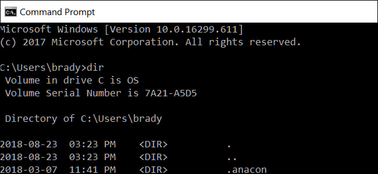 Verwendung des DIR-Befehls in Windows