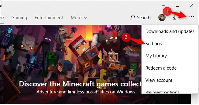 Öffnen des Einstellungsbildschirms des Microsoft Store unter Windows 10.