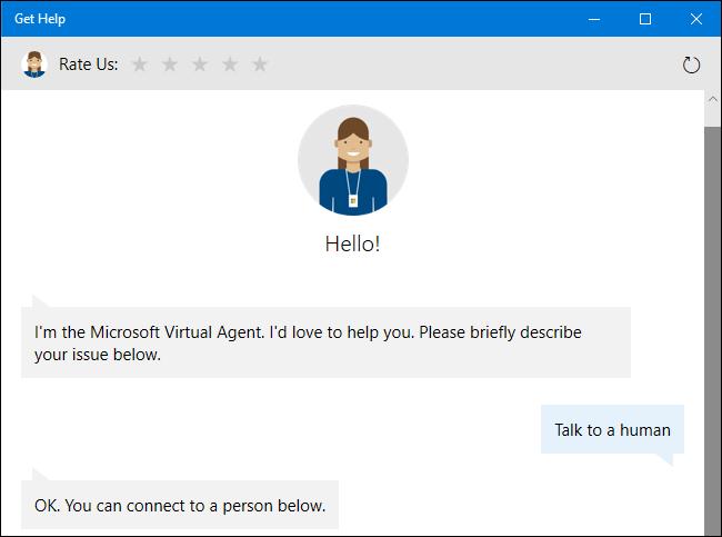 Fragen Sie den virtuellen Support-Agenten nach einem menschlichen Vertreter unter Windows 10