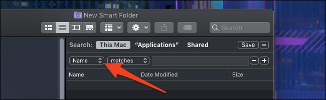 Optionen für MacOS Smart-Ordner