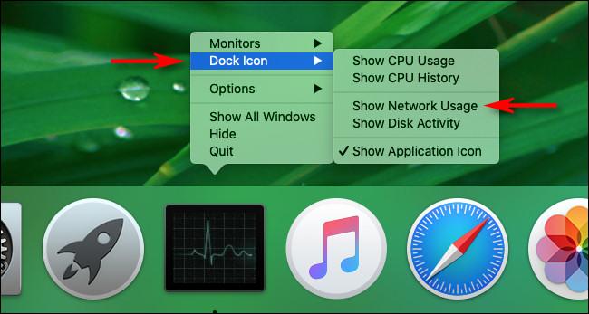 """Wählen """"Netzwerknutzung anzeigen"""" in den Dock-Optionen des Mac Activity Monitor"""