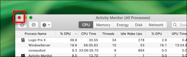 """Klicken """"X."""" zu schließen """"Aktivitätsmonitor"""" Fenster."""