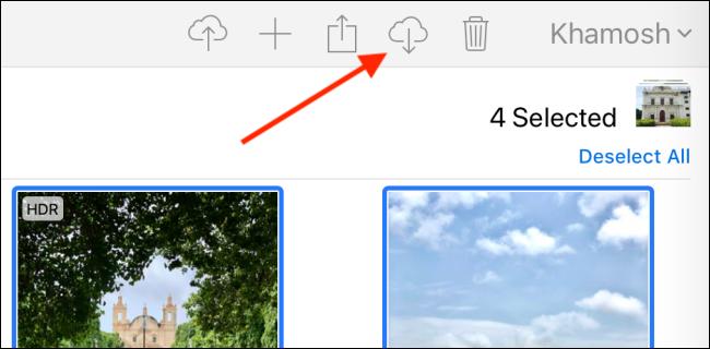 Klicken Sie in iCloud auf die Schaltfläche Herunterladen.