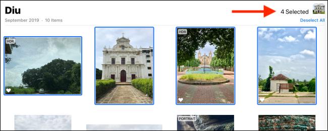 Wählen Sie die Fotos oder Videos aus, die Sie herunterladen möchten.