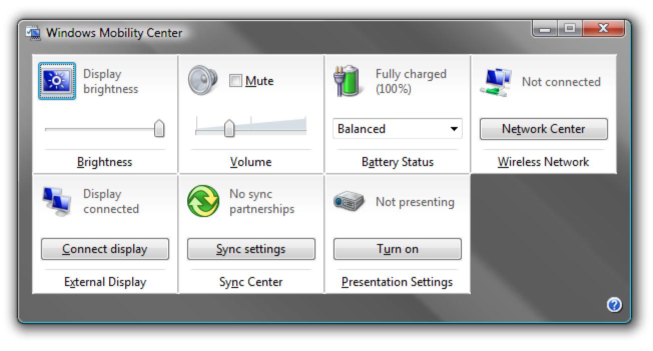Verwenden des Windows Mobility Center in Vista
